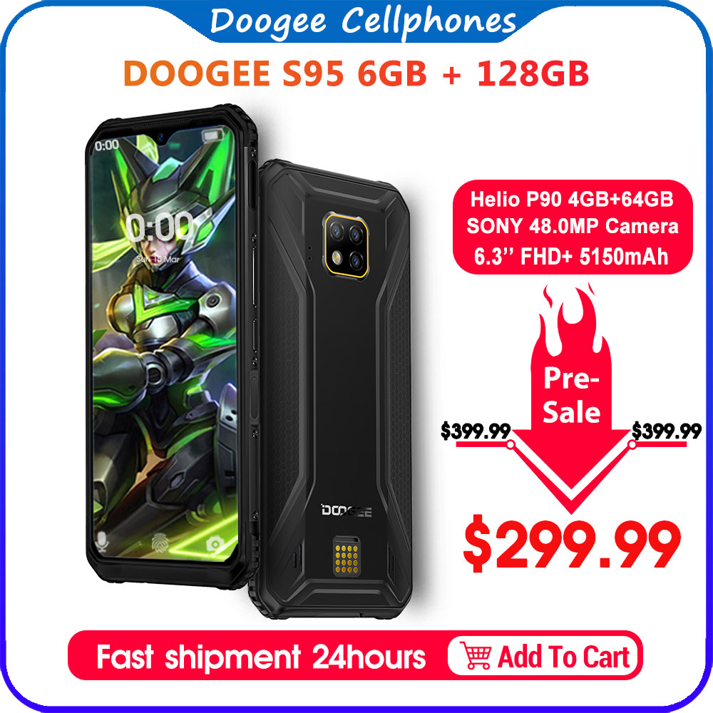 DOOGEE S95 IP68 Modular Rugged Mobile Phone 6.3inch Display Helio P90 Octa Core 6GB 128GB 48MP Triple Camera Android 9.0 5150mAh