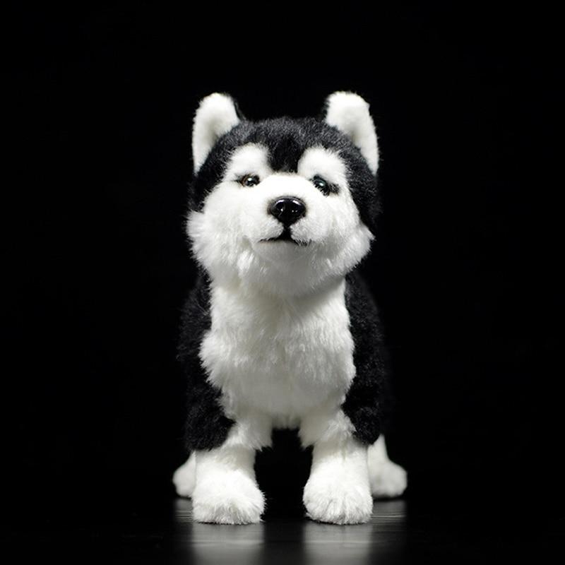 25CM Siberian Husky Dog Plush Toy W/ Brown/Blue Eyes Lifelike Alaskan Malamute Stuffed Animal Toys Christmas Gifts