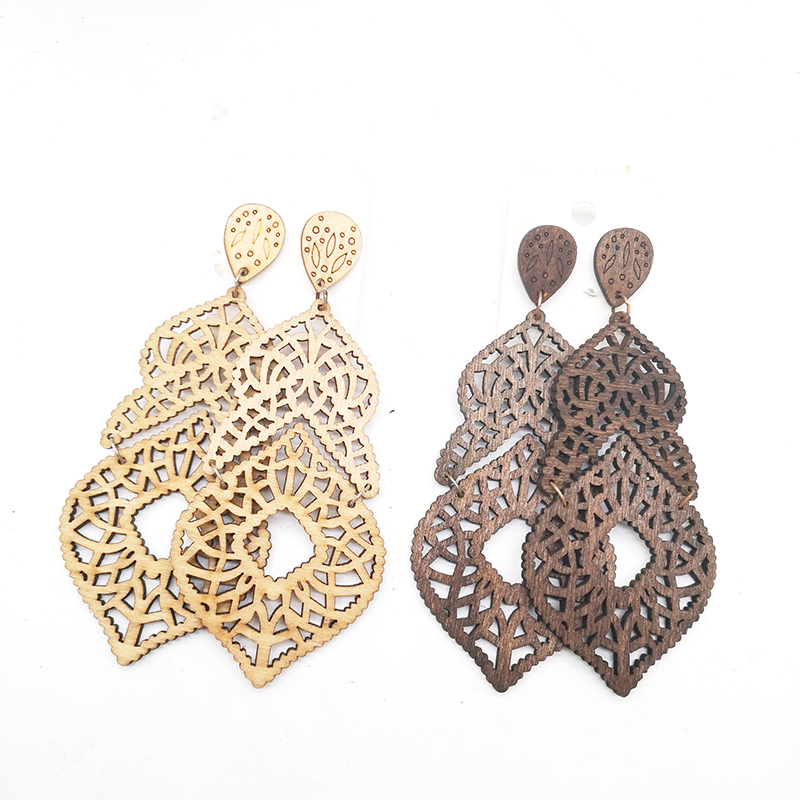 few stock!! Laser cut Wooden Earrings can mixed 2 colors