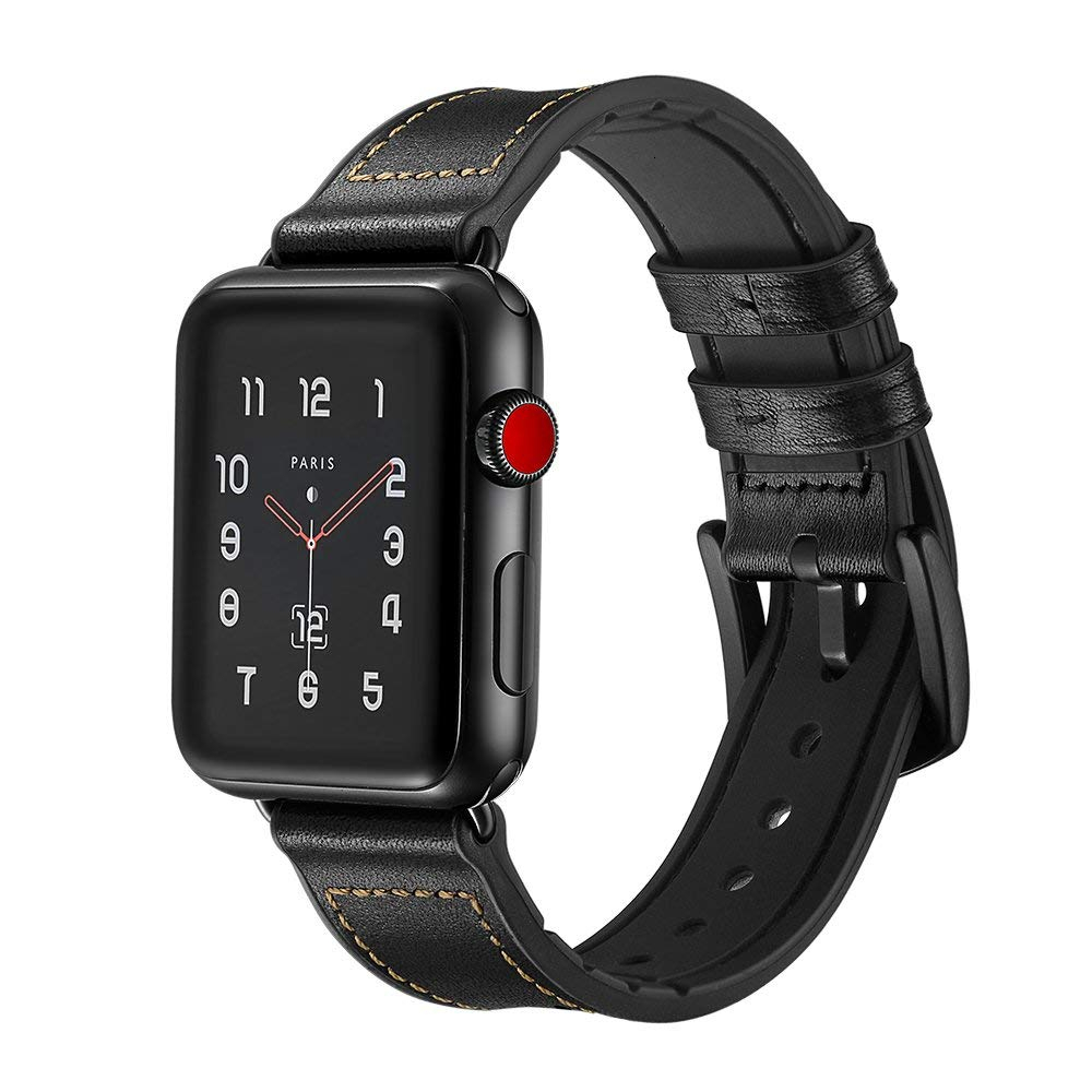 Leather Silicone Band For Apple Watch 44mm Series4 3 2 1 Strap For Iwatch 38mm 42mm Bracelet Smart Accessories Wrist Replacement