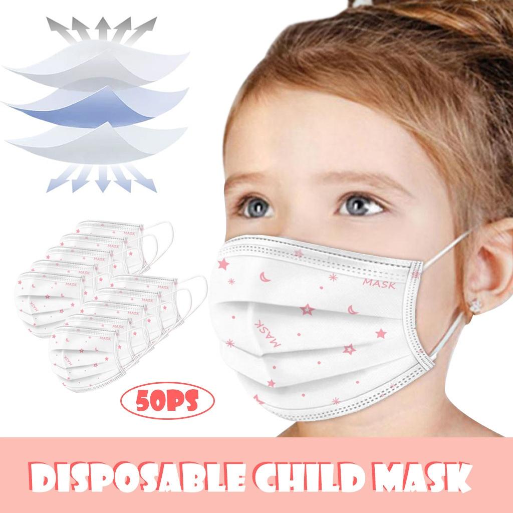 50шт одноразовые 3-х слойные маски анти-пыли лицо Ма/СК с упругими ушной дети