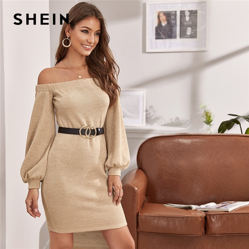 SHEIN Off Shoulder Lantern Sleeve Sweater Dress Without Belt Women Autumn Winter Solid Knitted Fitted Elegant Pencil Dresses 1
