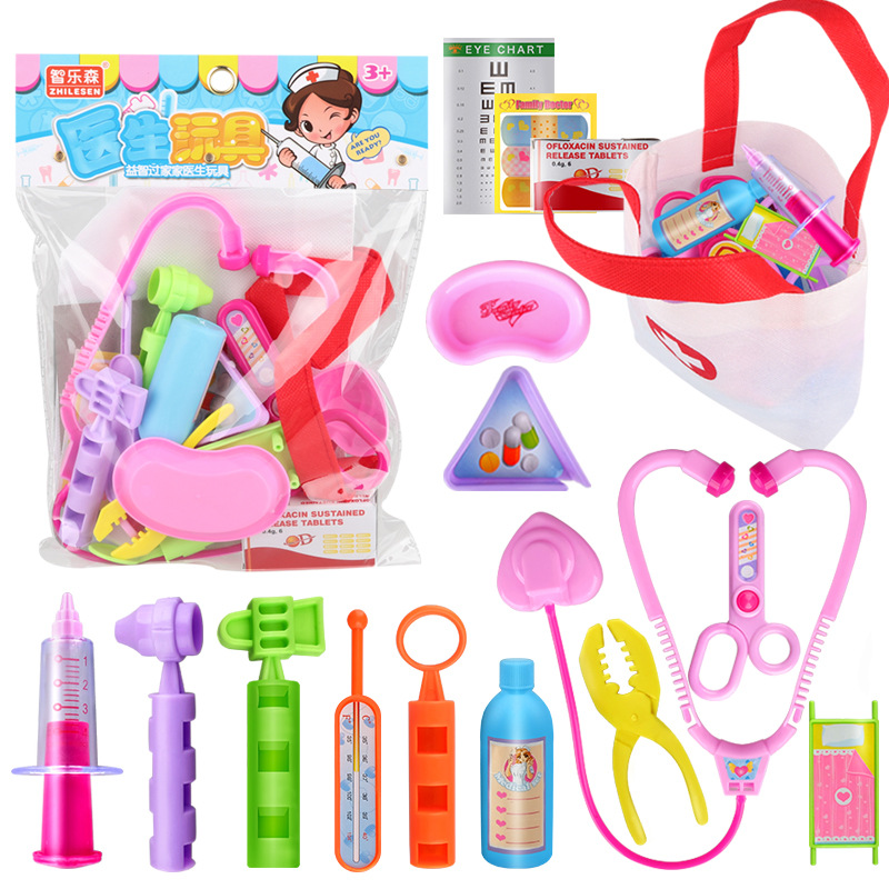 Children's educational simulation tool toys, house doctors, nurses, sets, stethoscopes, thermometers, color, hot sale image