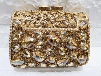 Chaliwini Gold  Box Bag Diamond Women Clutch Bag Crystal Party Handbag Ladies Banquet Purse Fashion Pochette Prom Evening bag