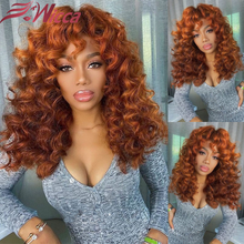Wig Human-Hair Honey-Blonde Curly Water-Wave Lace-Front Brazilian Deep 13x4 Ombre