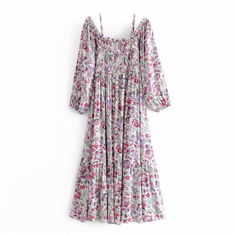 Женское винтажное платье с цветочным принтом gypsylady длинное