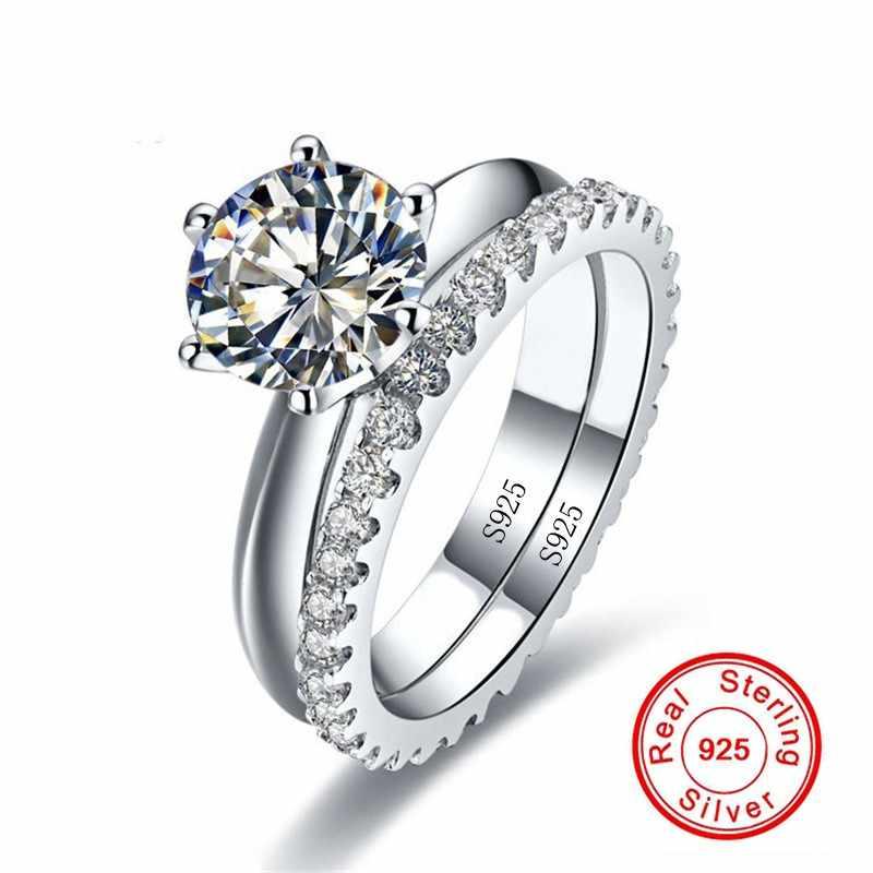 סוליטייר 1ct יהלומי טבעת סטי נדל 925 כסף סטרלינג תכשיטי אירוסין נישואים טבעות לנשים כלה מסיבת אבזר
