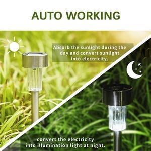 Image 4 - Aimkeeg 10pcs נירוסטה עמיד למים LED שמש אורות דשא חיצוני מנורת שמש גן דקורטיבי שמש בחצר אור