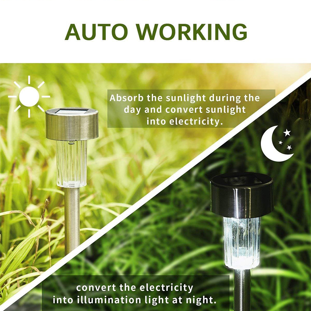 lowest price Aimkeeg 10pcs Stainless Steel Waterproof LED Solar Lawn Lights Outdoor Solar Lamp Garden Decorative Solar Light Yard Lamps