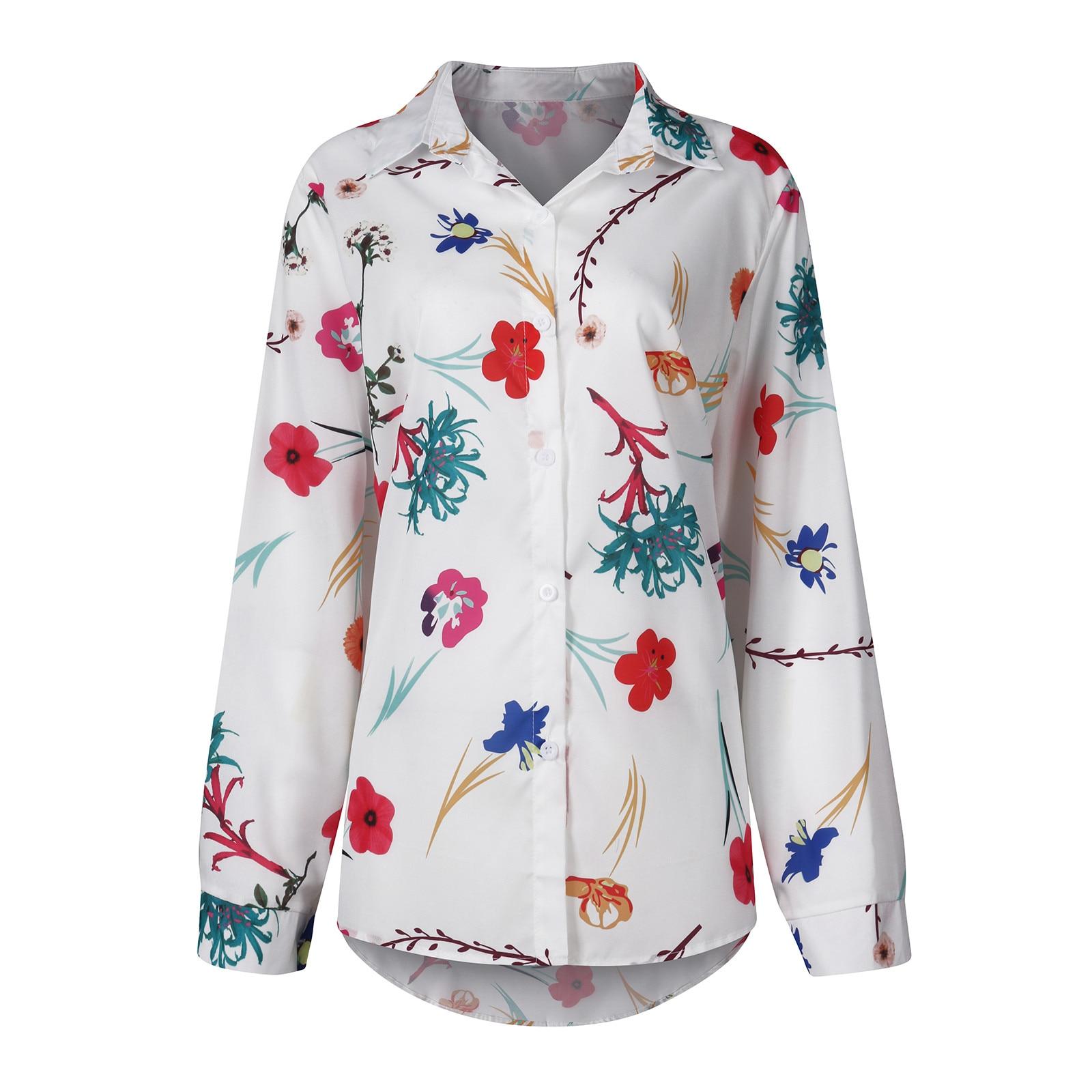 Women Casual Blouse Top Vintage Flower Printed Long Sleeve Ladies Button Shirts Femme Tops Blusa Bohemia Beach