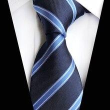 Новый синий полосатый галстуки мода мужская бизнес Шелковый шеи галстук мужской классический в полоску жаккард плел свадьба человек связей Военно-Морского Флота