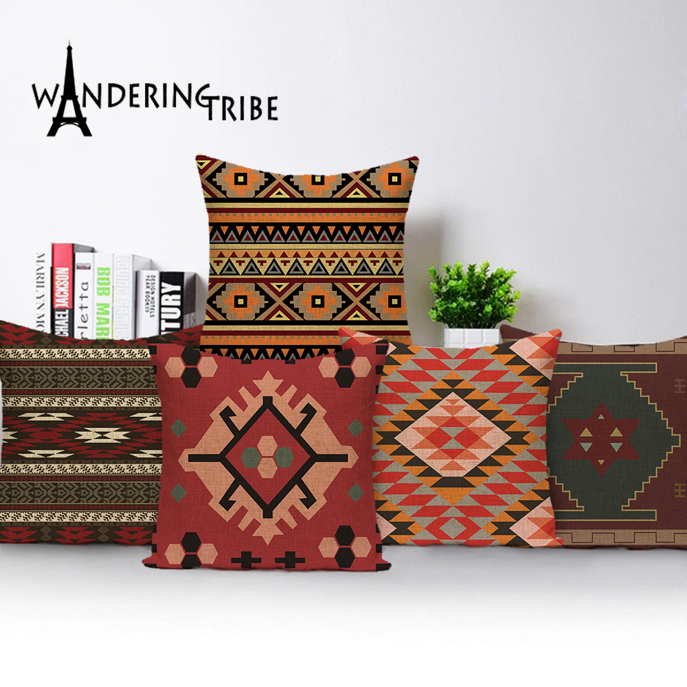 Bohemian Throw Pillows Case Brown Cushions Decorative  Linen Comfortable Cover Cushion Geometric Cushion Cover Home Pillowcase