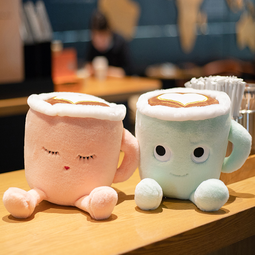 cute fluffy cartoon stuffed plush coffee cup toys romantic pink Sakura latte and Japanese matcha latte dolls fancy gifts image