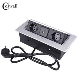 COSWALL Placa de Liga de Zinco POP UP 2 UE Soquete Dual USB Porta de Carga Lenta 2.1A Tomada De Mesa de Escritório Com 1.3M de Extensão Plug