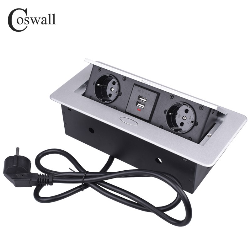 COSWALL Zinc Alloy Plate Slow POP UP 2 EU Socket Dual USB Charge Port 2.1A Office Table Outlet With 1.3M Extension Plug