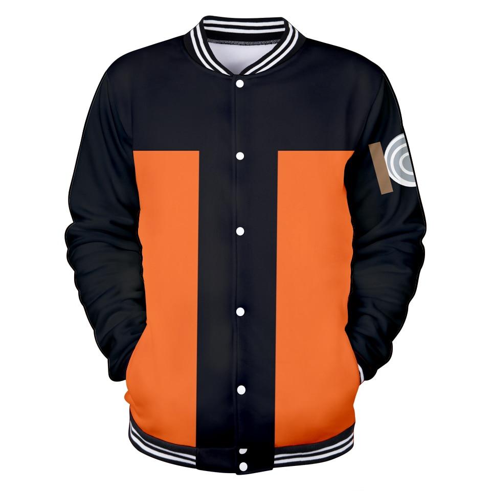 Harajuku Naruto Baseball Uniform Men 2019 New Jacket Coat Polyester Casual Slim Baseball Jacket Fashion New Casual Streetwear