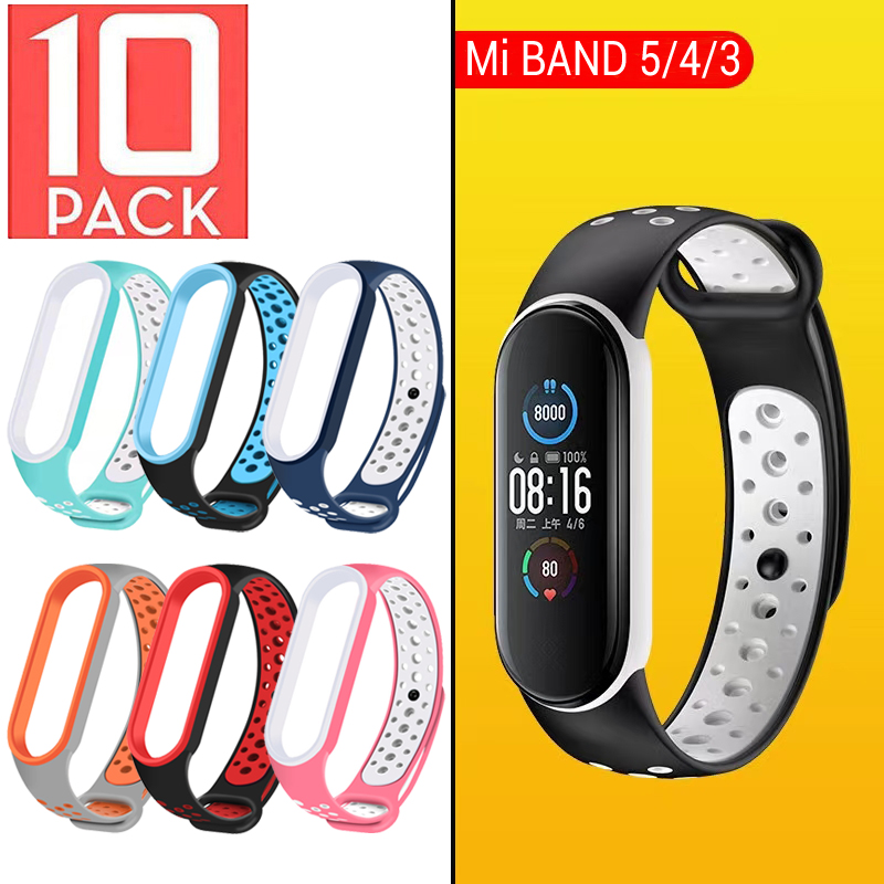 10 шт./упак. ремень Mi Band 5 браслет ремешок для наручных часов Спортивная дышащая силиконовый ремешок для Xiaomi Mi Band 5 4 3 браслетов MiBand
