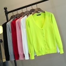 2019 Korean version of spring and autumn wild solid long-sleeved Slim Cardigan Sweater Cardigans  Regular  Full  V-Neck