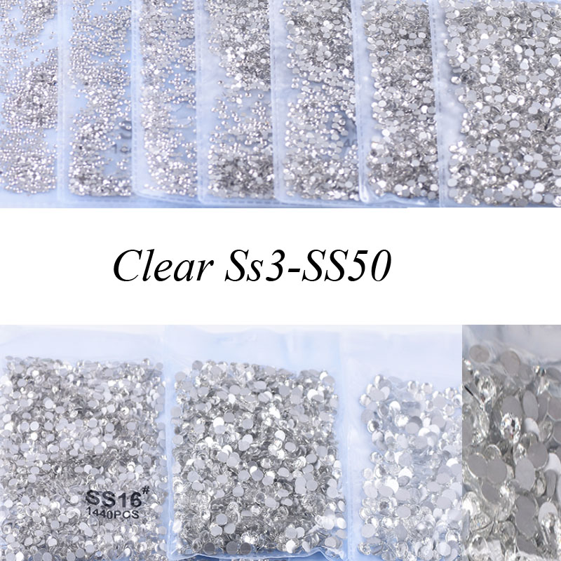 Swarovsky Crystal Glass Clear SS3-SS50 Nail Art  Rhinestone Nail Strass  Non Hot Fix Rhinestone Glue For Nails DIY Tool