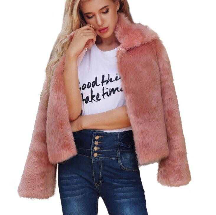 pink Autumn faux mink   leather   jacket womens winter thicken warm fur   leather   coat women slim jackets jaqueta de couro fashion