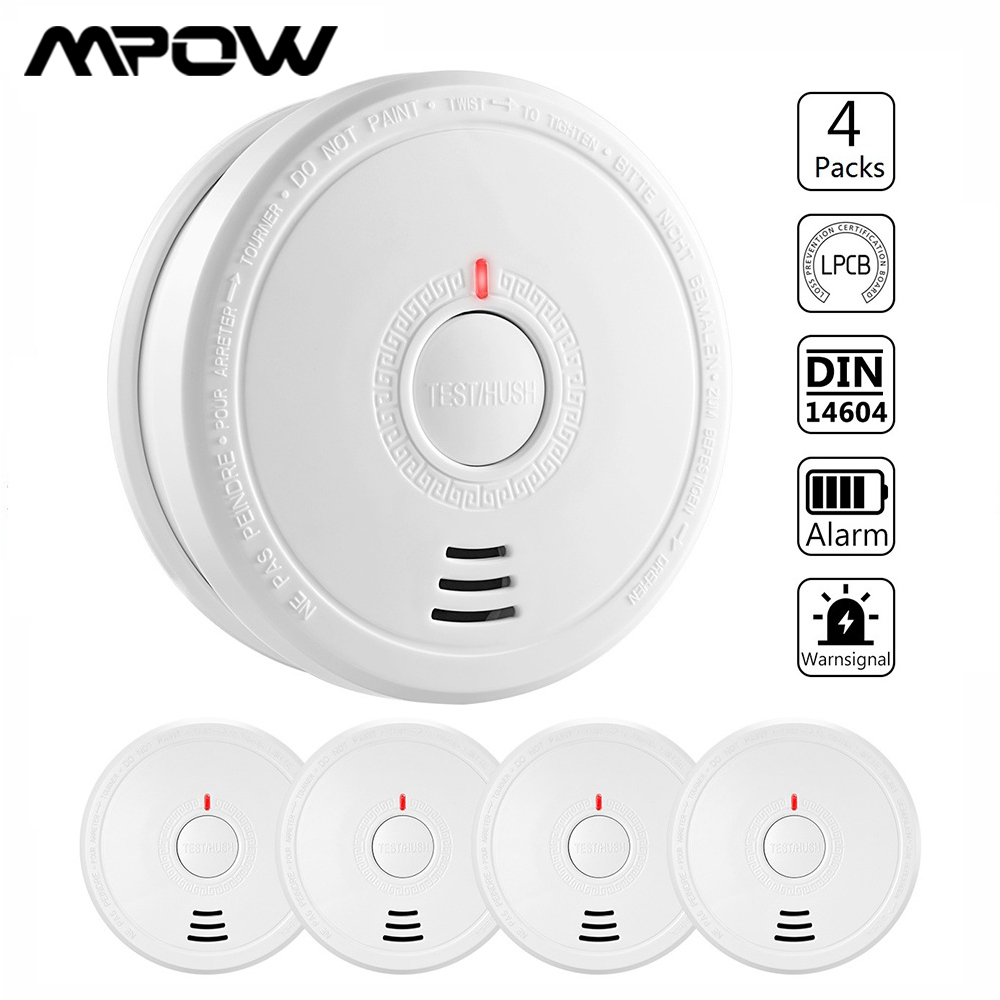 MPOW Smoke Alarm Fire Detector Photoelectric Fire Smoke Detector With 10 Years Life Time Fire Safety Alarm For Home Hotel School