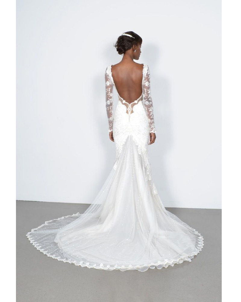 Backless Wedding Dresses <font><b>Sexy</b></font> Mermaid Bride Gown With Long Sleeves White <font><b>abiti</b></font> <font><b>da</b></font> <font><b>sposa</b></font> Long Princess Robe de Mariage image