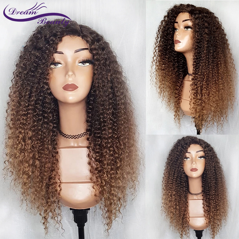 Ombre Color 13x4 Lace Front Human Hair Wigs Pre Plucked Ombre Lace Frontal Wig Brazilian Remy Curly Wig Dream Beauty