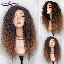 Ombre kolor 13x4 koronki przodu peruki z ludzkich włosów Pre oskubane Ombre koronki przodu peruka brazylijski Remy włosy peruka z lokami sen piękno