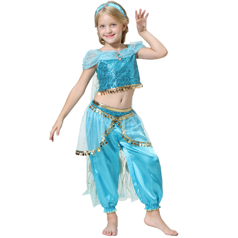 Movie Girls Kid Summer Jasmine Princess Dance Dress Children Aladdin Halloween Party Performance Costume Top Skirt Pant Set