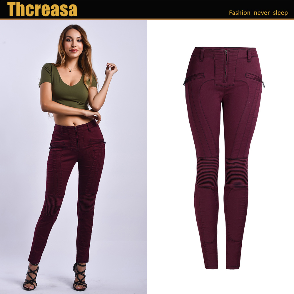 Hot Selling Denim Small-legged Pants To Splice Zip-up Elastic Solid-colored Jeans