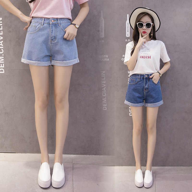 MiiKLN Denim Shorts 80% Baumwolle Sommer Frauen Kurze Jeans 2020 Neue Hohe Taille Weibliche Sommer Shorts Mode-Design Breit bein jean