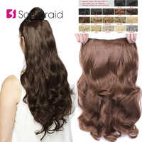 SAMBRAID Hair Extensions Synthetic Hair 4 Clips In One Piece 24 inch Natural Long Hair 190g For Women