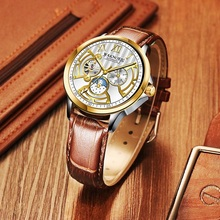 FORSINING Fashion Sport Golden Skeleton Diamond Design Leather Band Luminous Lady Automatic Mechanical Watches Top Brand Luxury цены онлайн