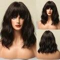 Парики ALAN EATON из синтетических волос, со средней волной, с челкой, естественные, темные, коричневые, короткие, из термостойкого волокна, для ж...