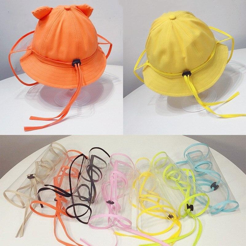 Детская Прозрачная защитная маска на все лицо с защитой от капель слюны, ветрозащитная съемная маска на все лицо для детей, шапки