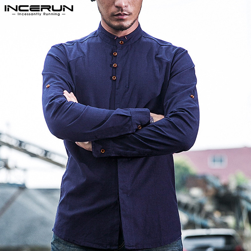 INCERUN Spring Fashion Men Shirts Streetwear Casual Stand Collar Long Sleeve Solid Business Brand Shirts Cotton Camisa S-5XL