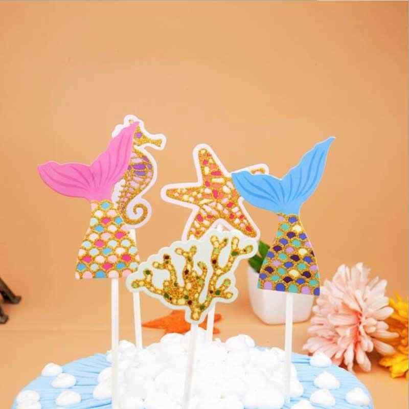 1 комплект Русалка Морская звезда морской конек торт Топпер, декор для вечеринки в честь Дня Рождения д детский праздничный костюм декор для вечеринки в честь Дня рождения поставки