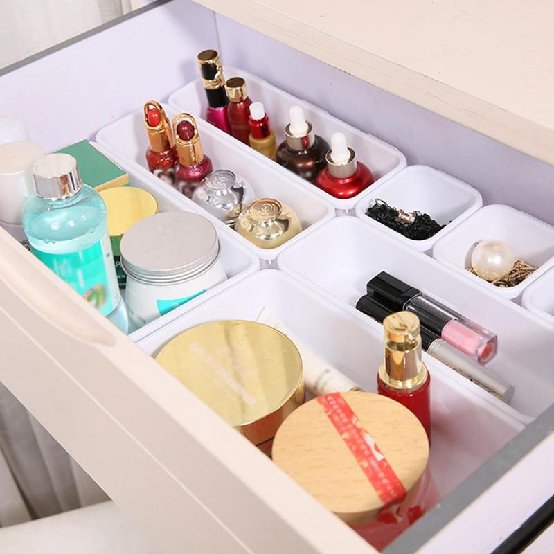 8 Pcs Adjustable Drawer Style Make Up Storage Box Plastic Sundrie Cosmetic Container Divider Desk Organizer Jewelry Storage Box