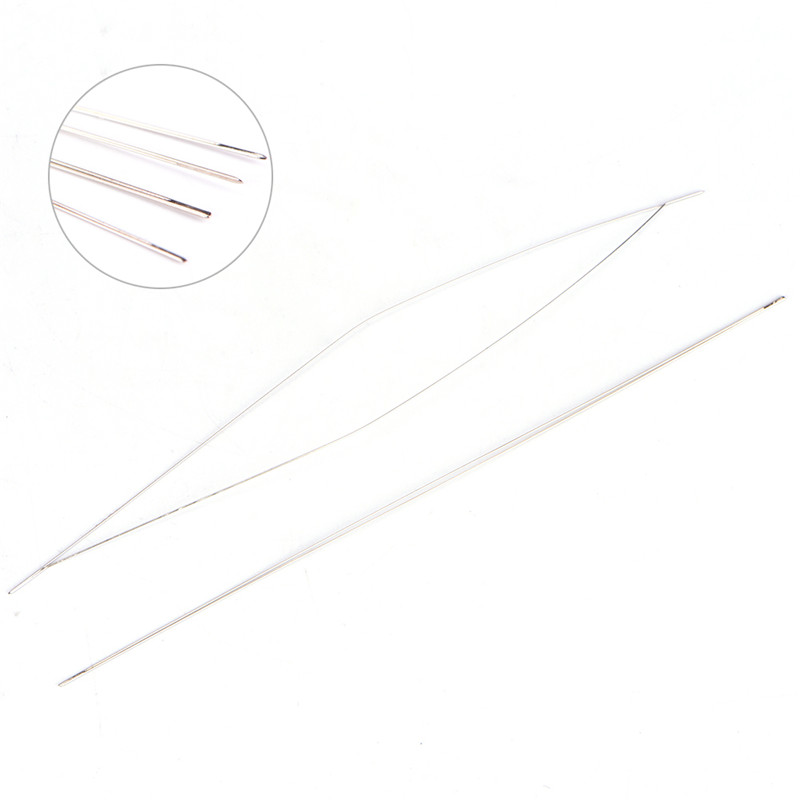 5PCS 102mm/114mm/127mm Big Eye Curved Beading Needles Threading String Cord Easy Jewelry Making Tools Dull Silver Color