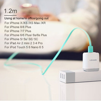 USAMS Flat USB Cable for iPhone 6 cable 2A light Cable for iPhone 12 11 Pro Max X XS 8 7 6s 5s se 2m mobile phone cable for iPad cord charging