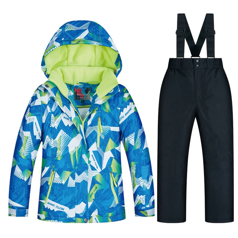 MUTUSNOW Kids Ski Suit Waterproof Warm Snow Jacket and Pants Thicken Winter Ski Snowsuit for Boys Skiing Snowboarding Outdoors