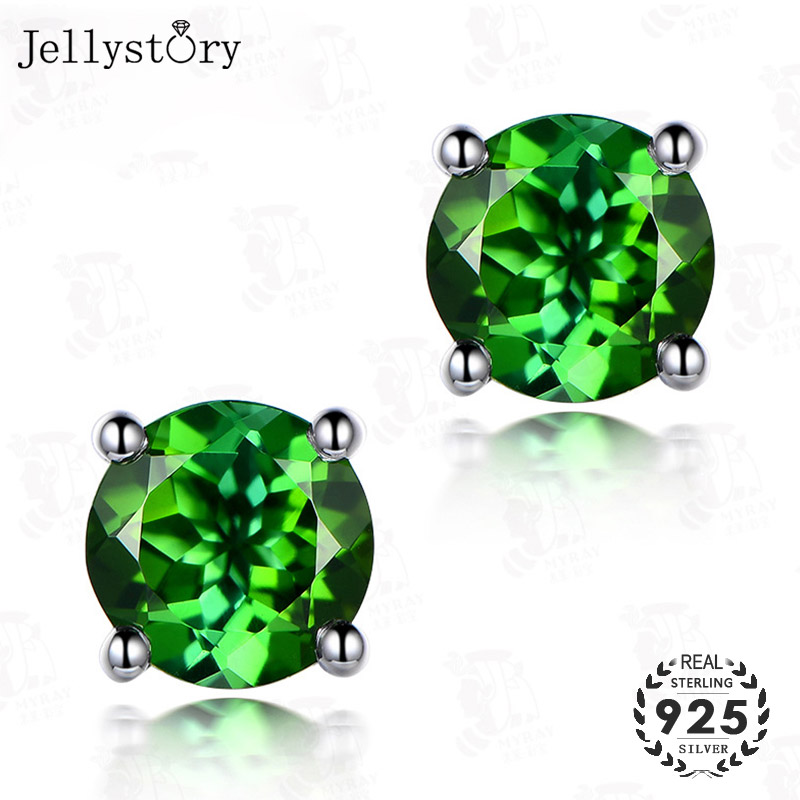 Jellystory Classic 925 Silver Stud Earrings With Emerald Gemstone For Women Round Shape Earring Fine Jewelry Wedding Party Gifts