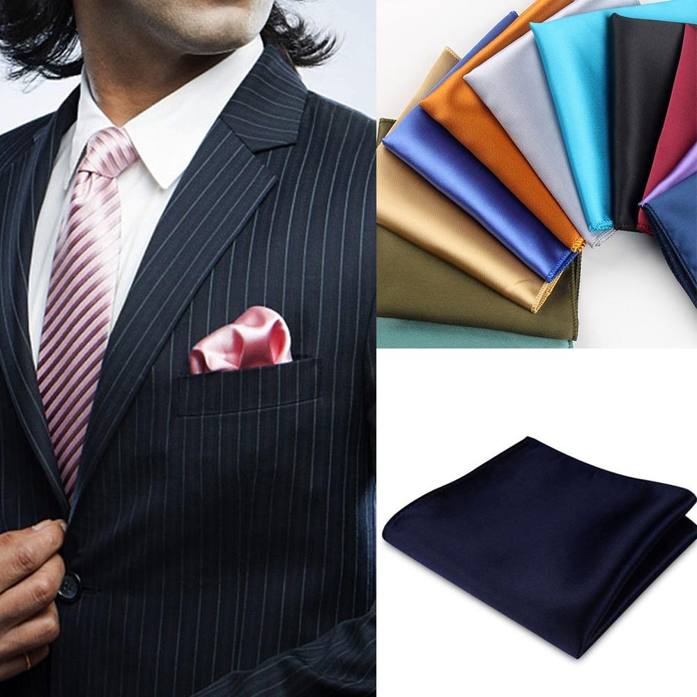 England Solid Colors Hankerchief Scarves Vintage Silk Satin Men Suit Pocket Square Handkerchiefs Wedding Dress Chest Towel