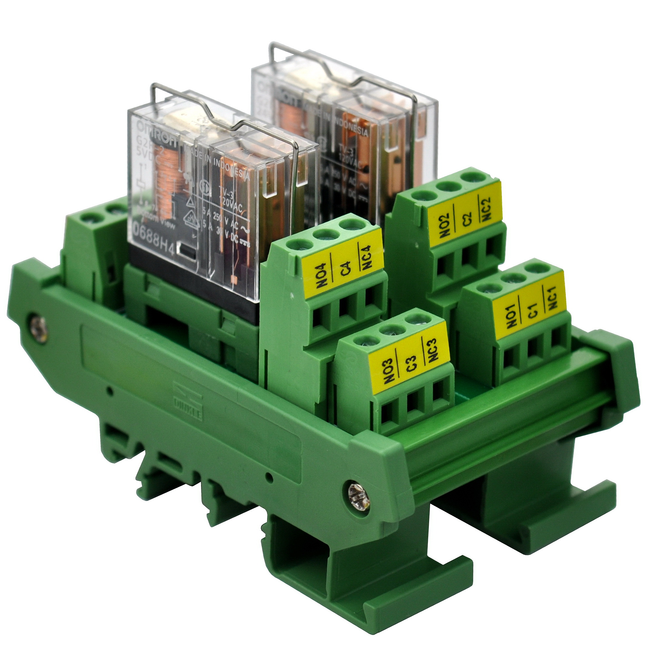 ELECTRONICS-SALON DIN Rail Mount AC/DC 5V Control 2 DPDT 5Amp Pluggable Power Relay Interface Module.