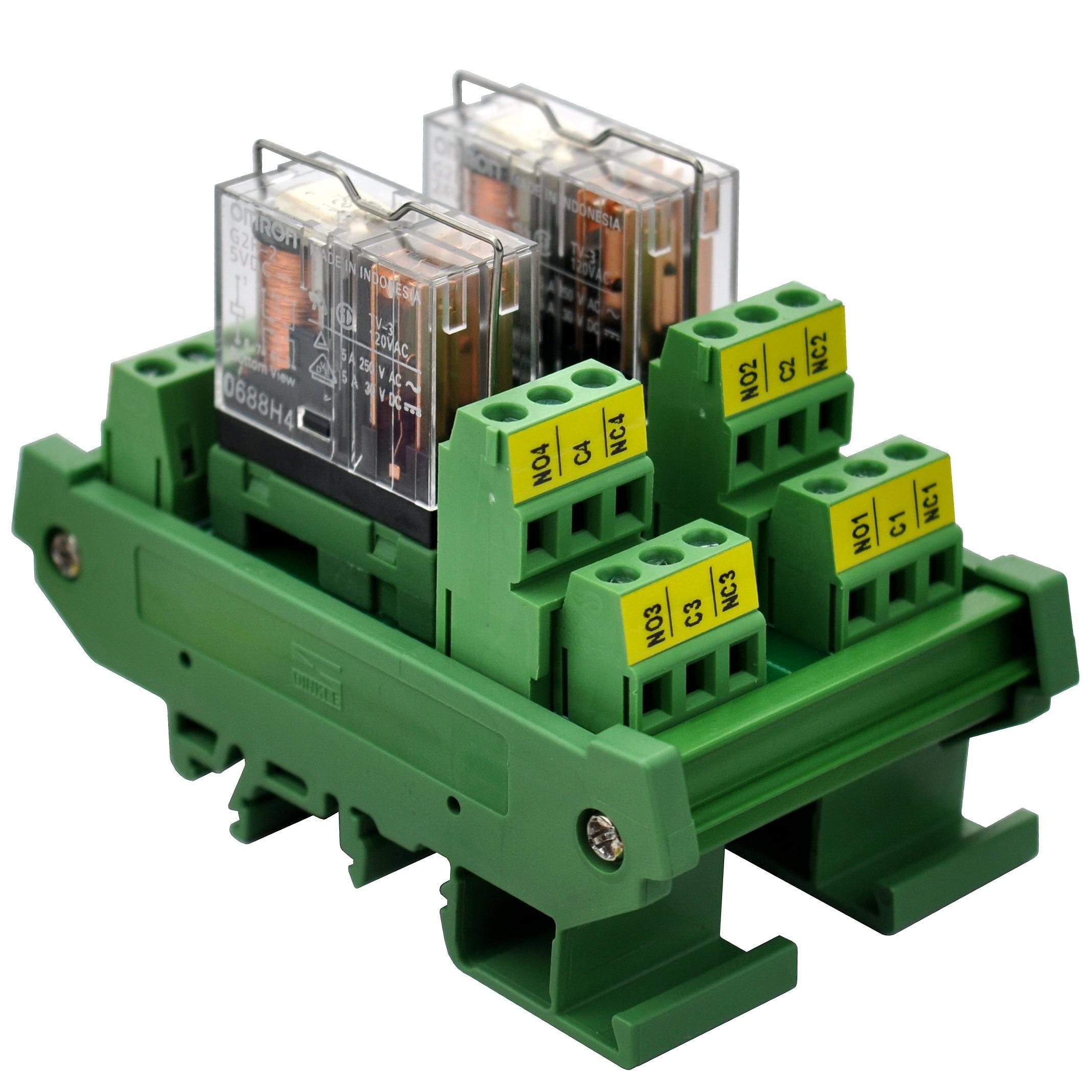 ELECTRONICS-SALON DIN Rail Mount AC/DC 5V Control 2 DPDT 5Amp Pluggable Power Relay Interface Module.