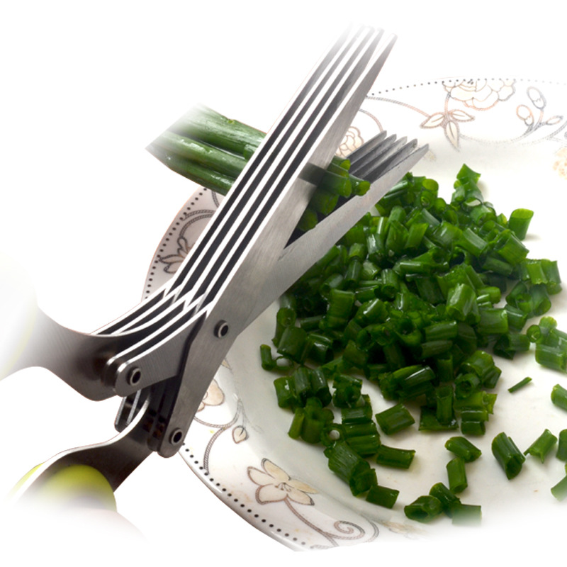 15cm Minced 5 Layers Basil Rosemary Kitchen Scissor Shredded Chopped Scallion Cutter Herb Laver Spices Cook Tool Cut 2020 Hot