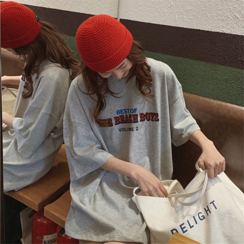 Casual Loose Fashion Basic Letter Printed All Match Oversize College Wind Street Hot Sale Women Female Short Sleeve Top T-shirts 2