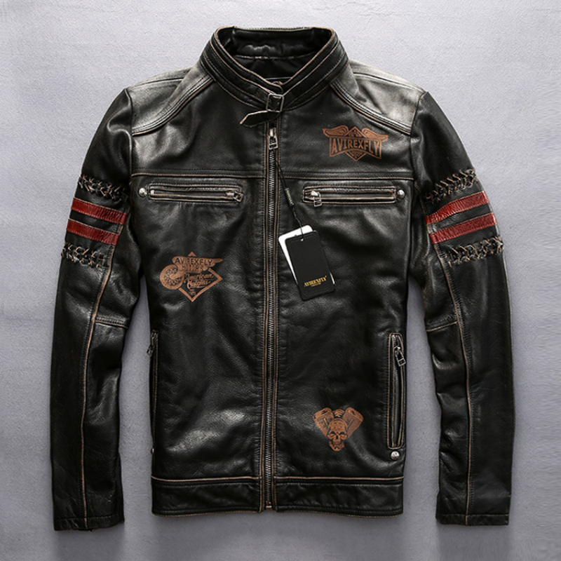 2020 Men's Genuine Leather Jacket Vintage Black Thick Cowhide Slim Fit Motorcycle Biker Embroidery Coat Spring Plus Size Jacket