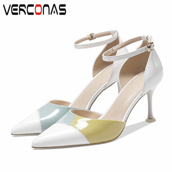 VERCONAS 2020 Fashion Woman Sandals Woman Pumps Brand Design Genuine Leather Basic Shoes Pointed Toe Thin High Heels Shoes Woman