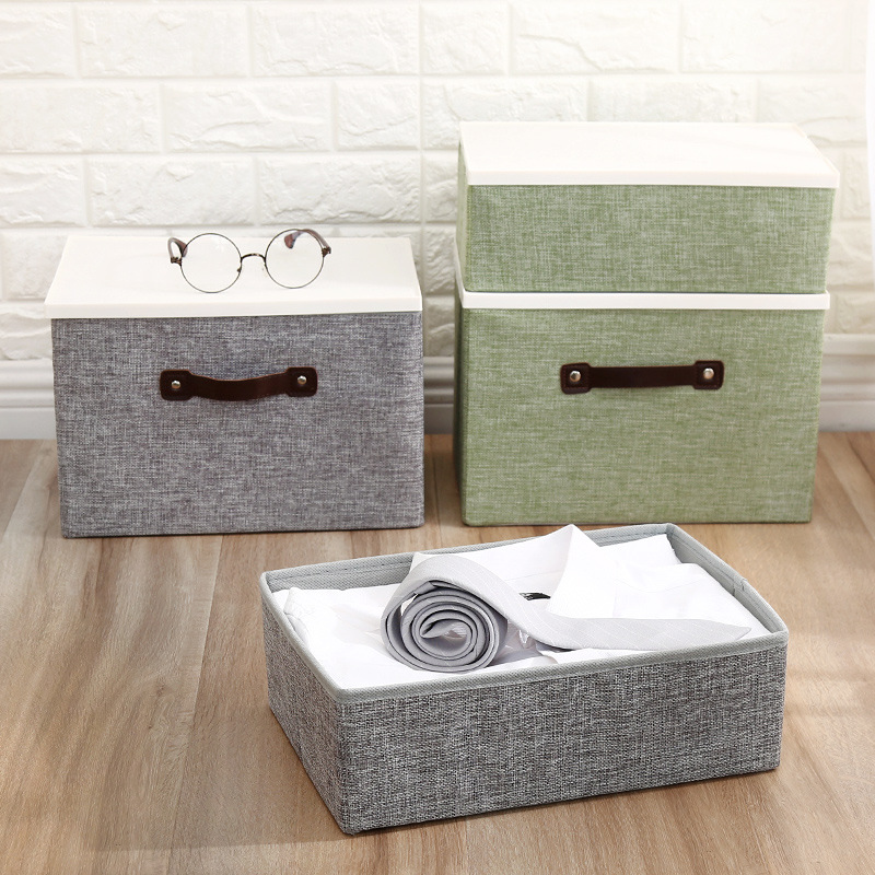 Household Fabric Folding Storage Box Large Size With Lid Clothing Storage Finishing Box Multi-functional Debris Storage Box